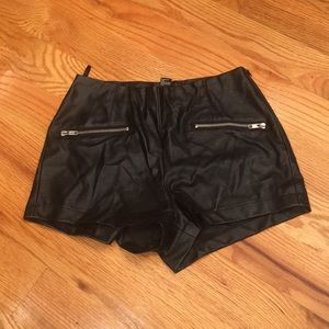 Leather Zipper Shorts